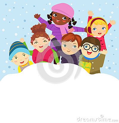 Free Group Of Children Playing In The Snow In The Winter Royalty Free Stock Photography - 85668717