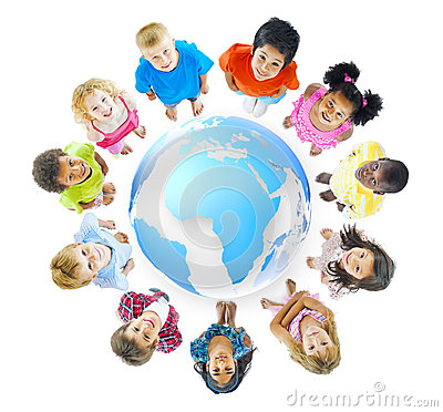 Free Group Of Children Standing Around World Map Royalty Free Stock Photography - 37447097