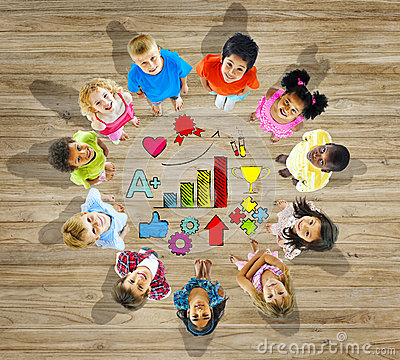 Free Group Of Children With School Symbol Stock Photo - 44793460