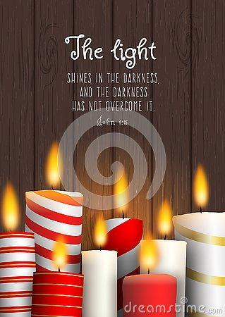 Free Group Of Christmas Candles With Biblical Quote Stock Photos - 130755813