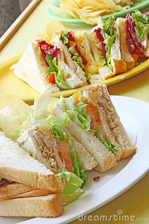 Free Group Of Cut Toasted Sandwiches Royalty Free Stock Photos - 6542318