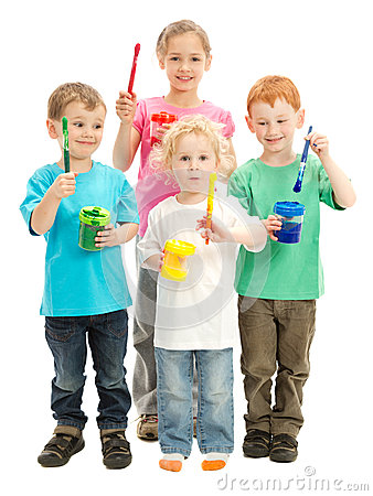 Free Group Of Happy Children With Kids Paint Brushes Royalty Free Stock Photography - 27283307