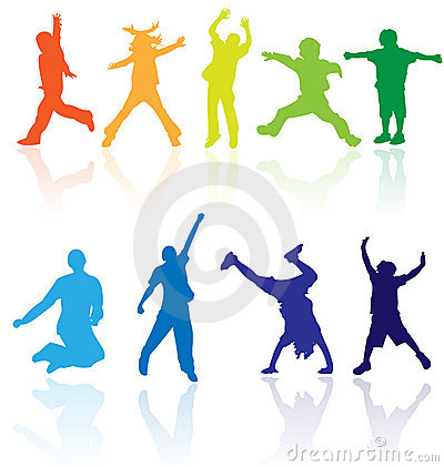 Free Group Of Happy School Active Children Silhouette Jumping Dancing Playing Running Healthy Kids Child Kid Kinder Action Youth Play Stock Image - 11910701