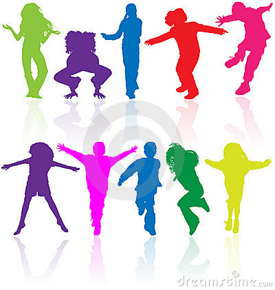 Free Group Of Happy School Active Children Silhouette Jumping Dancing Playing Running Healthy Kids Child Kid Kinder Action Youth Play Stock Image - 9899231