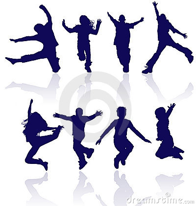 Free Group Of Happy School Children Active Jumping Dancing Running Playing Kids Kid Child Silhouettes Fun Sport Party Jumps Jump Dance Royalty Free Stock Image - 9899226