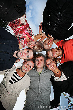 Free Group Of Happy Young People In Circle Royalty Free Stock Images - 6719849