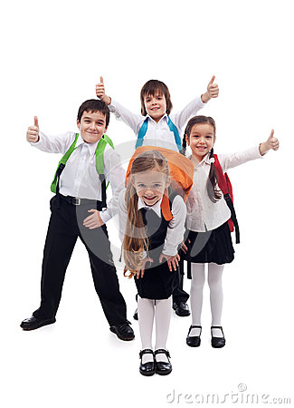 Free Group Of Kids Happy Going Back To School Stock Photo - 32563540