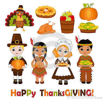 Free Group Of Kids - Indians And Pilgrims - Sharing Food For Thanksgiving Royalty Free Stock Images - 73342069