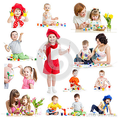 Free Group Of Kids Or Children Paint With Brush Or Finger Royalty Free Stock Photos - 35422848