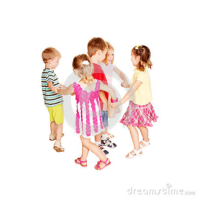 Free Group Of Little Children Dancing, Holding Hands Royalty Free Stock Image - 32481536