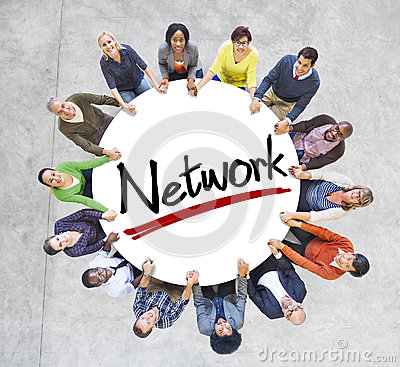 Free Group Of People Holding Hands With Letter Network Royalty Free Stock Photos - 43921568