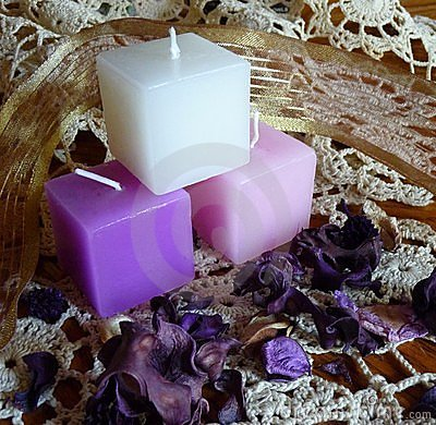 Free Group Of Pink,white,lavender Candles And Potpourri Royalty Free Stock Photography - 7838887