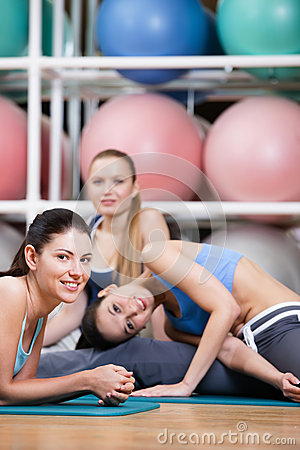 Free Group Of Sportive Women Have A Rest Stock Photos - 28593043