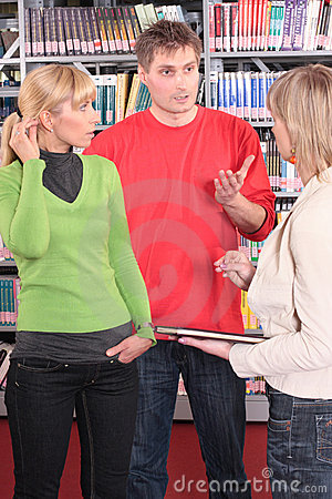 Free Group Of Students In Library Stock Photography - 5237272