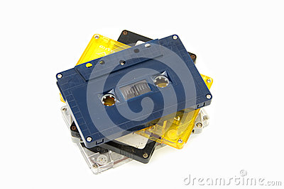 Group of Old  cassette tapes on white background