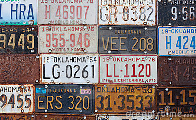 Group of old vintage American license plates Editorial Photo