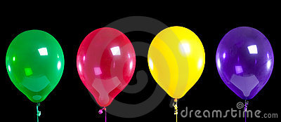 Group of party balloons on black