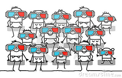 Group of people with 3D glasses