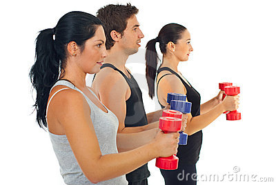 Group of people with barbell