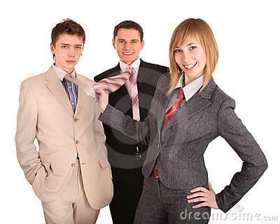 Group of people in business suit. Feminism.