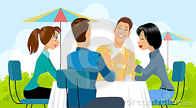 Group of people in cafe Vector Illustration