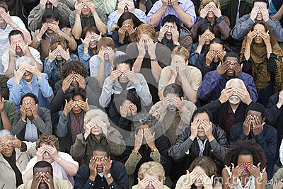 Group Of People Covering Eyes With Hands