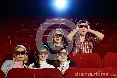 Group of people in 3D glasses