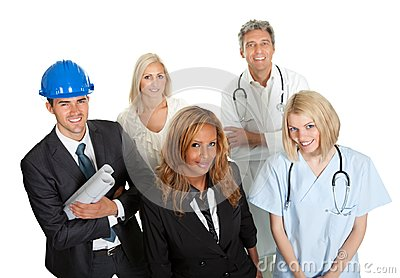 Group of people in different professions