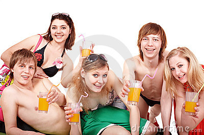 Group of people enjoying cocktails.