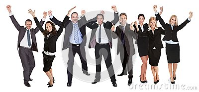 Group of people excited business people