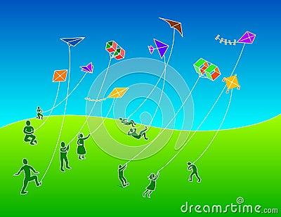 Group of People Flying Kites