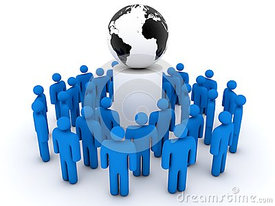 Group of people gathering around planet earth