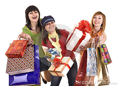 Group people girl with  shopping bag and gift box.