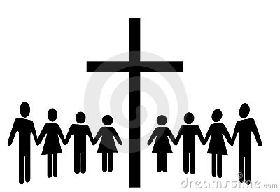 Group of People Hold Hands Gather Around a Cross