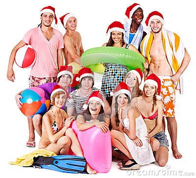 Free Group People Holding Beach Accessories. Stock Photography - 27677432