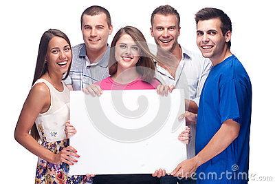 Group of people holding a blank billboard