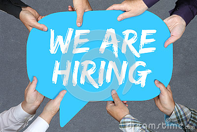 Group of people holding We are hiring jobs, job working recruitment employment business concept Stock Photo