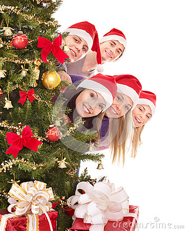 Free Group  People In Santa Hat By Christmas Tree. Royalty Free Stock Photo - 35353445