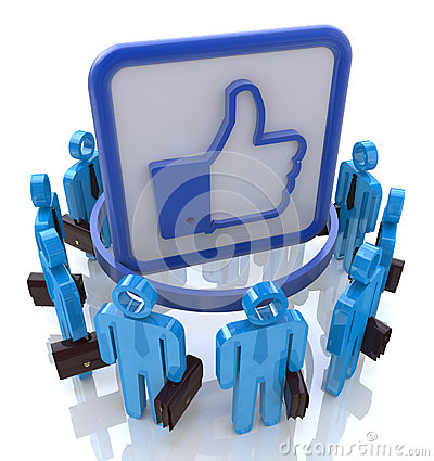 Group of people with Like symbol. Social network c