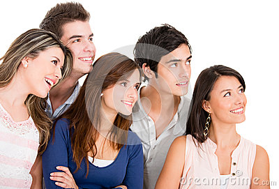Group of people looking up