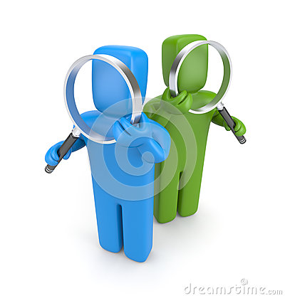 Group of people with magnifying glasses