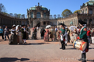 Group of people in medieval clothes in Dresden Editorial Image