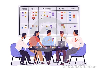 Group of people or office workers sitting around table and discussing work issues against SCRUM task board with sticky Vector Illustration