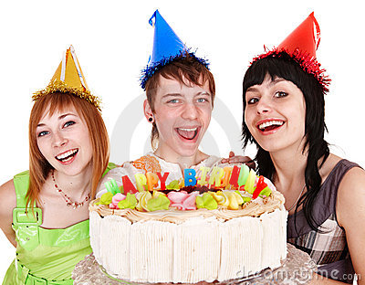 Group people in party hat with happy birthday cake