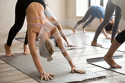 Group of people practicing yoga lesson, Downward facing dog pose Stock Photo
