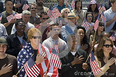 Group Of People Singing American National Anthem