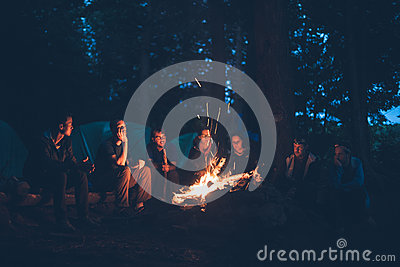 Group Of People Sitting Near Bonfire Free Public Domain Cc0 Image