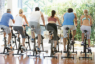 Group Of People In Spinning Class