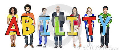 Group of People Standing Holding Ability Letter Stock Photo