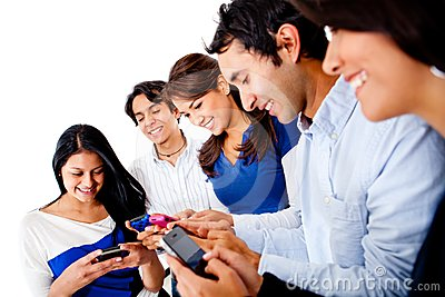 Group of people texting